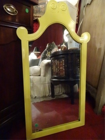 MID CENTURY WOOD MIRROR, NEW YELLOW LACQUER FINISH,