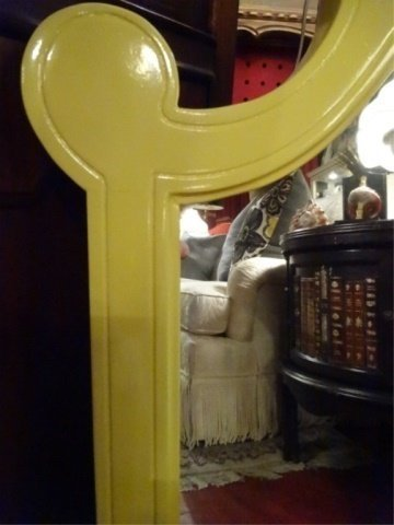 MID CENTURY WOOD MIRROR, NEW YELLOW LACQUER FINISH, - 3