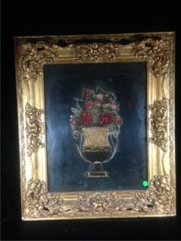 REVERSE PAINTING ON GLASS, STILL LIFE WITH FLOWERS,