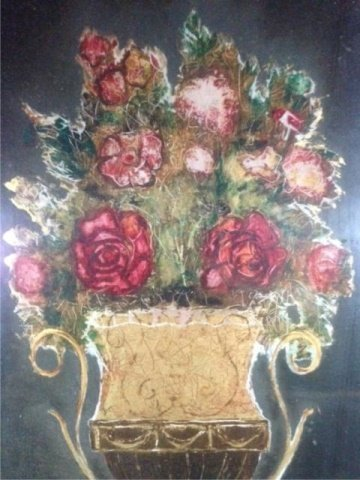 REVERSE PAINTING ON GLASS, STILL LIFE WITH FLOWERS, - 5