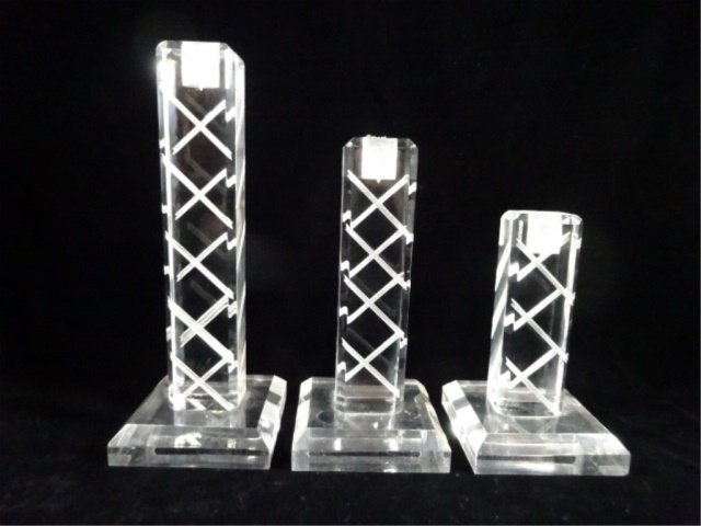 """3 PC LUCITE CANDLE STICKS, APPROX 10 5/8""""H, 8 5/8""""H, &"""