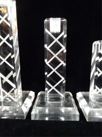 """3 PC LUCITE CANDLE STICKS, APPROX 10 5/8""""H, 8 5/8""""H, & - 3"""