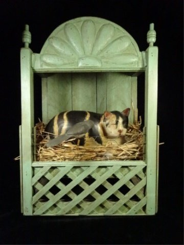 CAT IN BIRD'S NEST CARVED & PAINTED WOOD SCULPTURE,