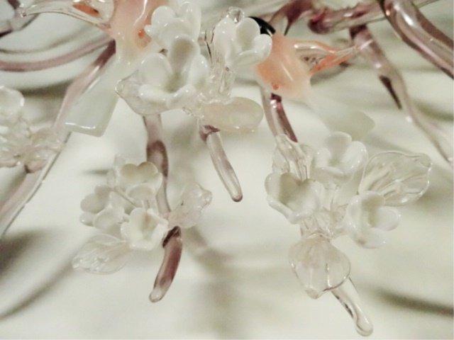 LARGE ART GLASS SCULPTURE, FLOCK OF BIRDS ON FLOWERING - 6