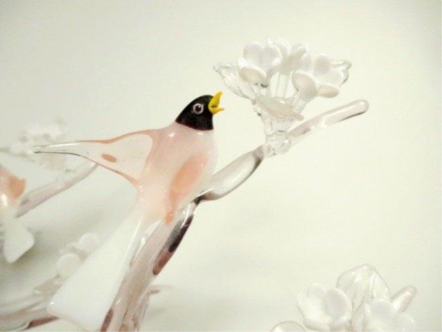 LARGE ART GLASS SCULPTURE, FLOCK OF BIRDS ON FLOWERING - 8