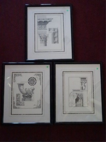 3 ARCHITECTURAL PRINTS, MATTED WITH BLACK FRAMES, VERY