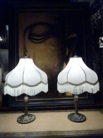 PAIR ART NOUVEAU STYLE METAL LAMPS, 20tH C. WITH - 2