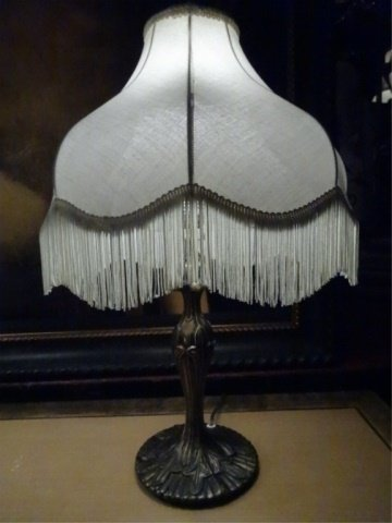 PAIR ART NOUVEAU STYLE METAL LAMPS, 20tH C. WITH - 3