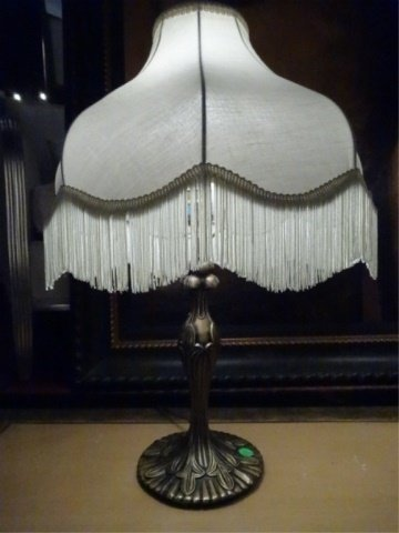 PAIR ART NOUVEAU STYLE METAL LAMPS, 20tH C. WITH - 4