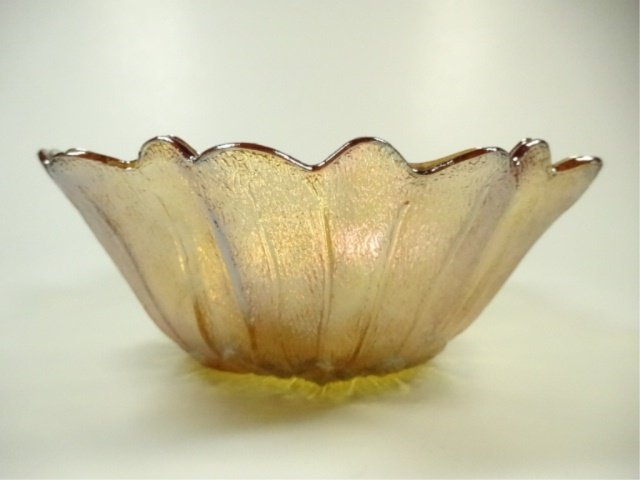 VINTAGE CARNIVAL GLASS BOWL, INDIANA GLASS LILY PONS - 3