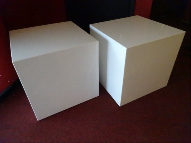 PAIR MODERN DESIGN SQUARE CUBE TABLES, WHITE ENAMEL
