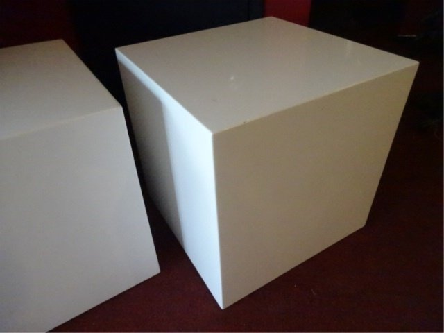 PAIR MODERN DESIGN SQUARE CUBE TABLES, WHITE ENAMEL - 3
