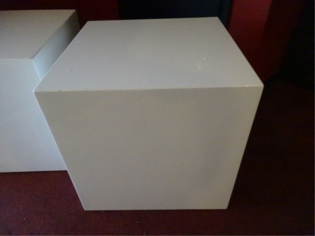 PAIR MODERN DESIGN SQUARE CUBE TABLES, WHITE ENAMEL - 4
