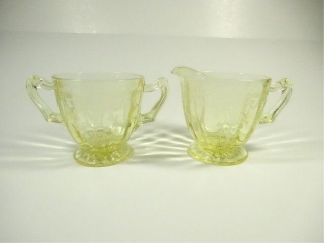 2 PC YELLOW DEPRESSION GLASS CREAM & SUGAR, ANCHOR
