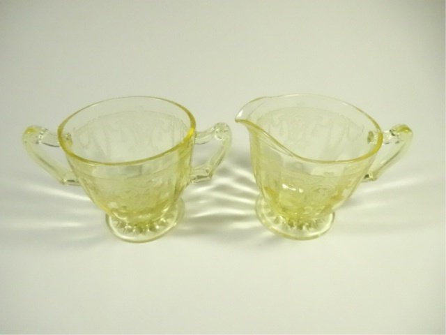 2 PC YELLOW DEPRESSION GLASS CREAM & SUGAR, ANCHOR - 2