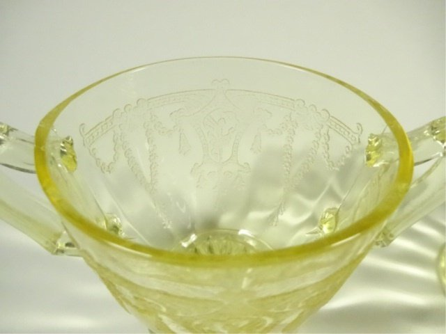 2 PC YELLOW DEPRESSION GLASS CREAM & SUGAR, ANCHOR - 4