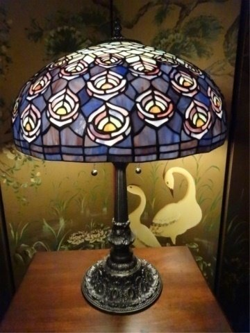 TIFFANY STYLE STAINED LEADED GLASS LAMP, PEACOCK