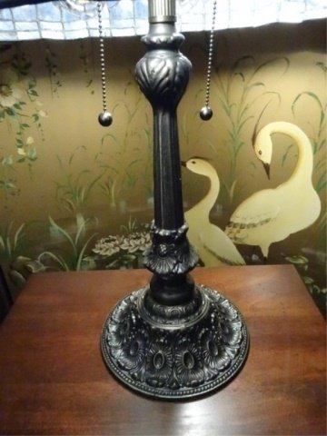 TIFFANY STYLE STAINED LEADED GLASS LAMP, PEACOCK - 7