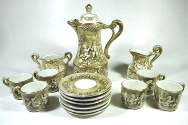 15 PC R. CAPODIMONTE DEMITASSE SET, INCLUDES COFFEE