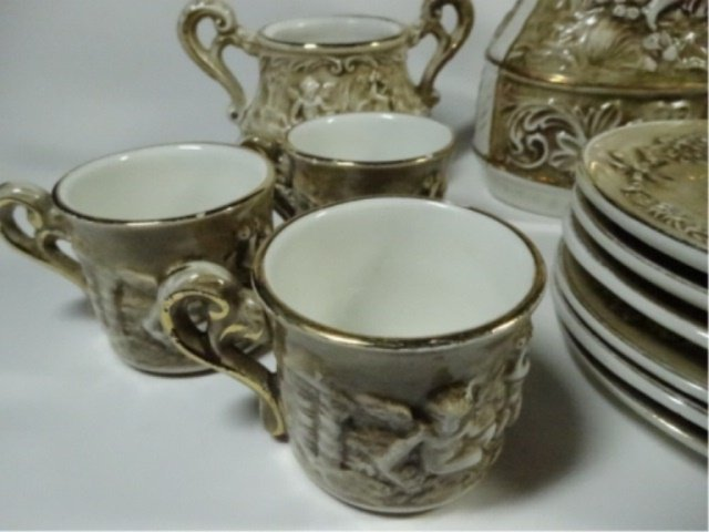 15 PC R. CAPODIMONTE DEMITASSE SET, INCLUDES COFFEE - 3