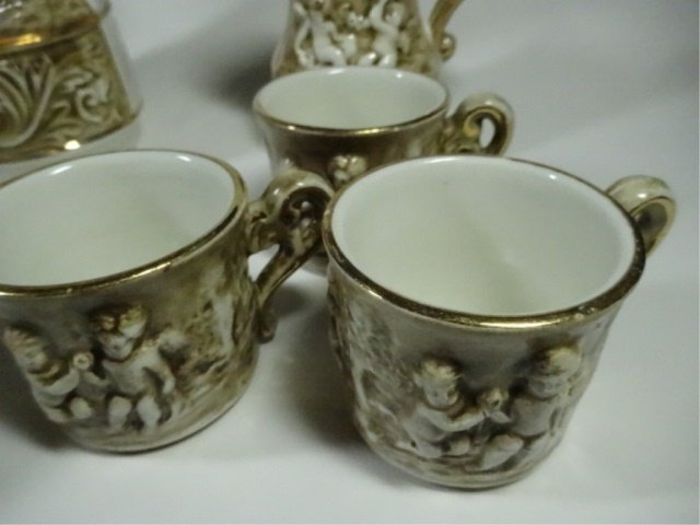 15 PC R. CAPODIMONTE DEMITASSE SET, INCLUDES COFFEE - 5