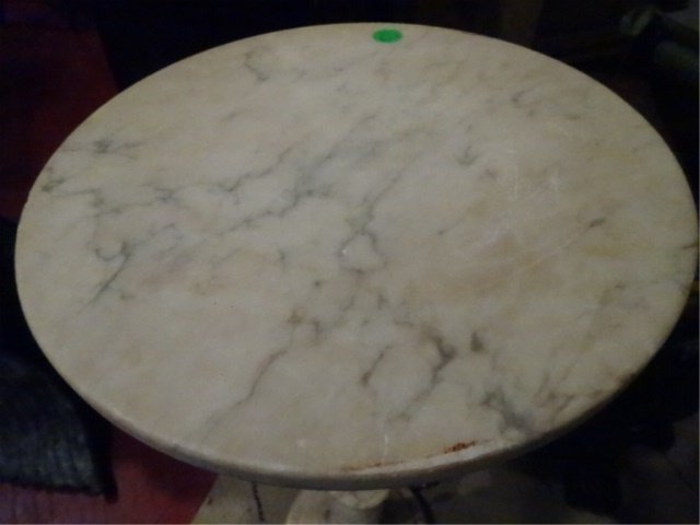 """WHITE MARBLE PEDESTAL, VERY GOOD CONDITION, 25""""H X - 2"""
