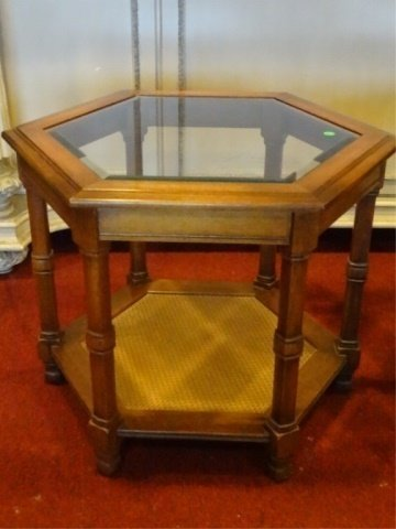 PAIR HEXAGONAL SIDE TABLES, GLASS INSET TOP, VERY GOOD - 2
