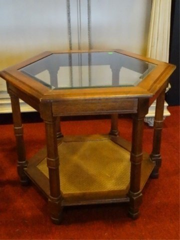 PAIR HEXAGONAL SIDE TABLES, GLASS INSET TOP, VERY GOOD - 3