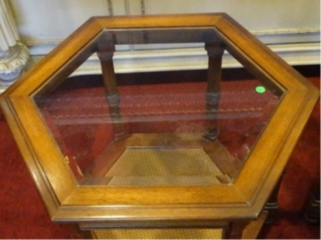 PAIR HEXAGONAL SIDE TABLES, GLASS INSET TOP, VERY GOOD - 4