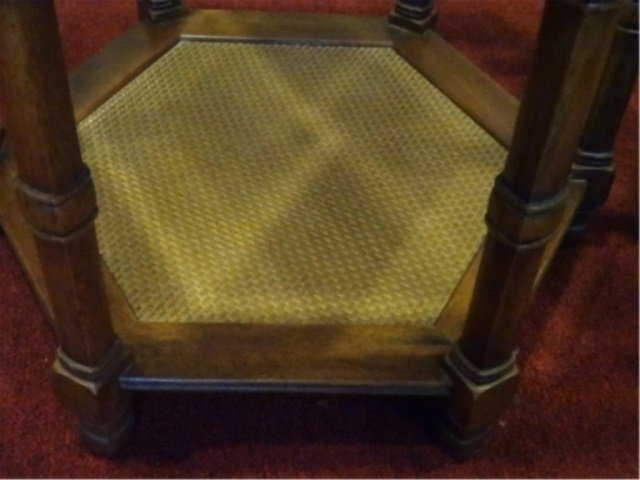 PAIR HEXAGONAL SIDE TABLES, GLASS INSET TOP, VERY GOOD - 5