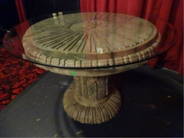 NEOCLASSICAL DINING OR SIDE TABLE, INDOOR OUTDOOR RESIN