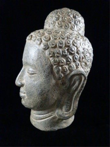 "CERAMIC BUDDHA HEAD SCULPTURE, APPROX 11.5""H - 4"