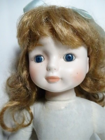 "MUSICAL DOLL, PORCELAIN HEAD, APPROX 16"" - 2"