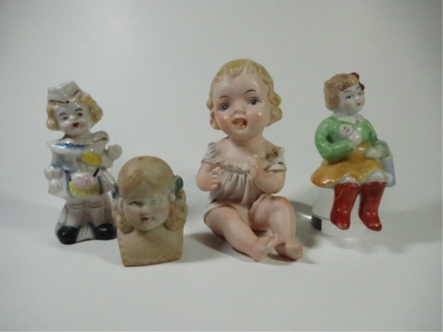 4 PC GROUP, FIGURINES & DOLL'S HEAD, LARGEST APPROX