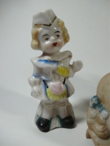 4 PC GROUP, FIGURINES & DOLL'S HEAD, LARGEST APPROX - 5