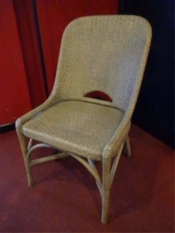 WICKER AND WOOD SIDE CHAIR, PALE GRAY FINISH, VERY GOOD