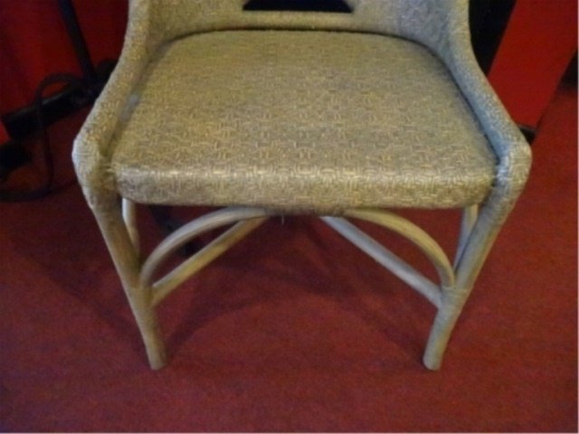 WICKER AND WOOD SIDE CHAIR, PALE GRAY FINISH, VERY GOOD - 3