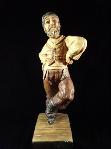 "CERAMIC SCULPTURE, MALE DANCING FIGURE, 15""H X 6""W,"