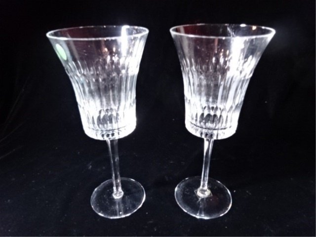 "PAIR TALL CUT CRYSTAL WINE GLASSES, 9.5"" X 4""."
