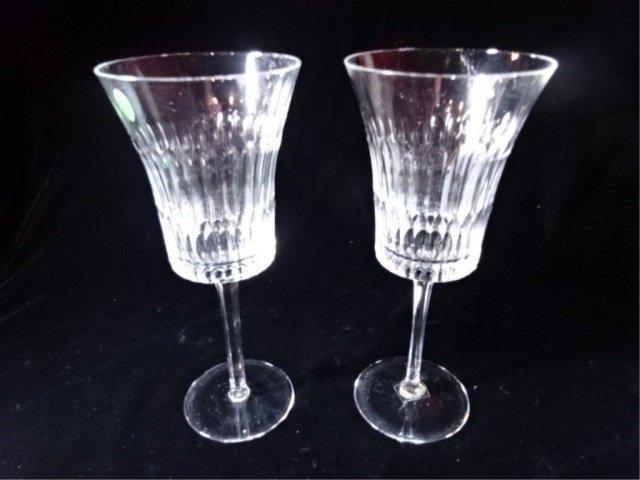 """PAIR TALL CUT CRYSTAL WINE GLASSES, 9.5"""" X 4""""."""