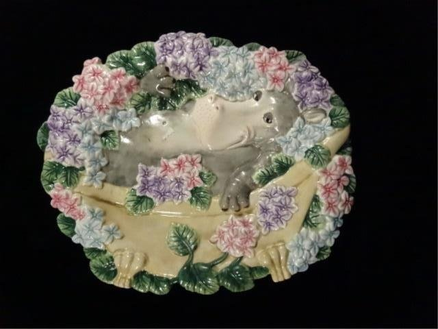 FITZ & FLOYD CERAMIC PLATE, WHIMSICAL HIPPO IN BED OF