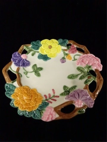 FITZ & FLOYD PORCELAIN PLATE, FLOWERS AND TWIG DESIGN,