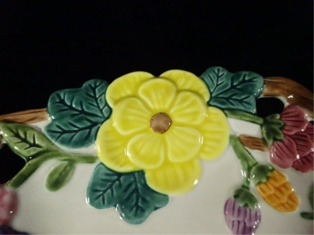 FITZ & FLOYD PORCELAIN PLATE, FLOWERS AND TWIG DESIGN, - 3