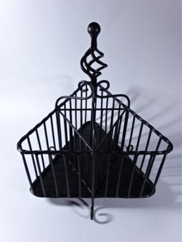 "ORNATE METAL WINE CADDY, BLACK FINISH, 14""H X 10""W,"