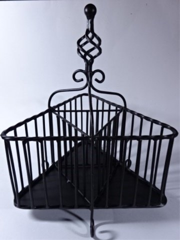 "ORNATE METAL WINE CADDY, BLACK FINISH, 14""H X 10""W, - 2"
