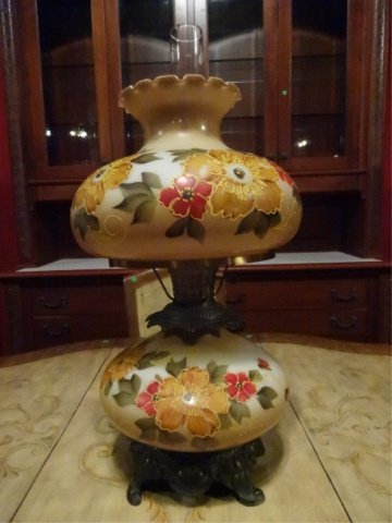 """GLASS HURRICANE LAMP, PAINTED FLORALS, APPROX 28""""H,"""