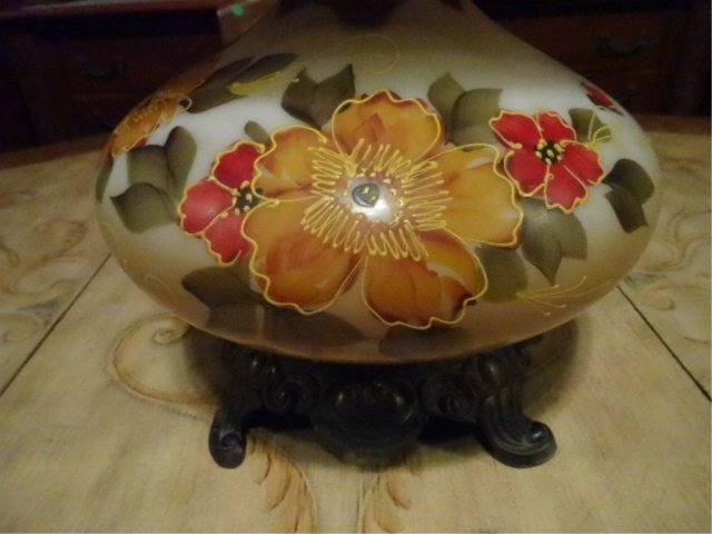 """GLASS HURRICANE LAMP, PAINTED FLORALS, APPROX 28""""H, - 3"""