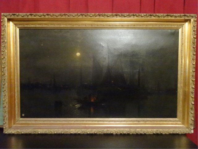 ANTIQUE OIL ON CANVAS PAINTING, NAUTICAL SCENE AT NIGHT