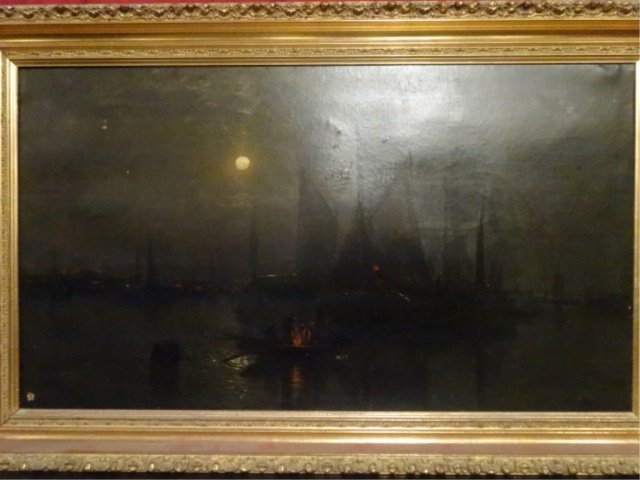 ANTIQUE OIL ON CANVAS PAINTING, NAUTICAL SCENE AT NIGHT - 2