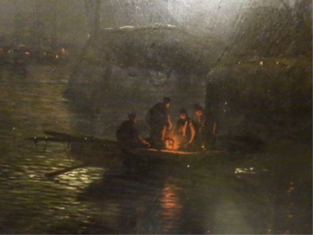 ANTIQUE OIL ON CANVAS PAINTING, NAUTICAL SCENE AT NIGHT - 3